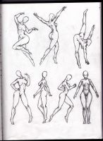 Pose sketching, female. from sketchbook by SamMuk1R1