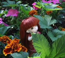 Faun in my flowerbed by Minnake