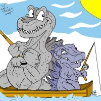 JAP's zilla and USA Zilla by trextrex65