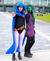 Raven and Beast Boy (Girl?) by ZeroKing2015