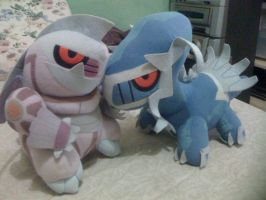 Chibi palkia and dialga plushies...... by davyjonesentei123