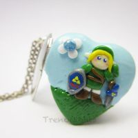 Legend of Zelda inspired Link and Navi Necklace by TrenoNights