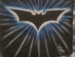 BATMAN LOGO AIRBRUSHED ON A DISH CLOTH by lrayjus21