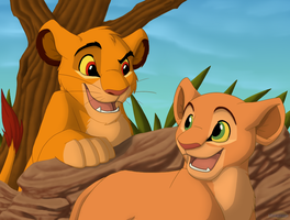 Redraw: Simba and Nala by Lifefantasyx