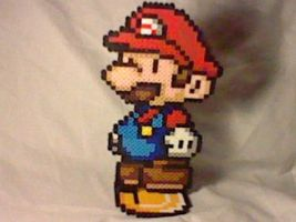 Paper Mario On A Coin Base by Perler-Pop