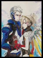 Soldier 76 and Mercy by 017m