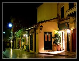 In The Night... Street Of Corfu City - 2 by skarzynscy