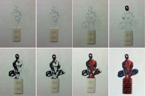 Spiderman on the wall process by slan-12