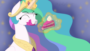 Celestia and Cake (Pony Poll Series) by CadetRedShirt
