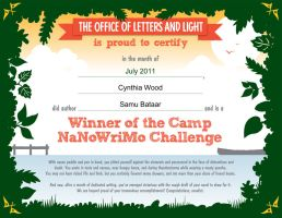 CampNaNoWriMo Certificate by shaharw