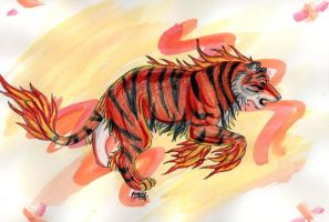 Fire tiger by PyrateWolf