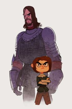 Arya and the Hound by bearmantooth