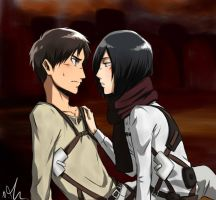 ErenxMikasa *Otaku University Contest* by Sango94