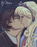 Harry and Luna kiss by MeryChess