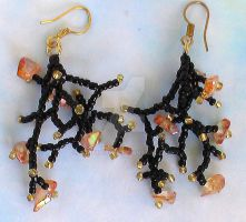 Coral Fringe Earrings by Craftcove