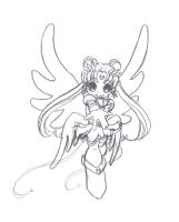 Eternal Sailor Moon Chibi BW by Zimmette