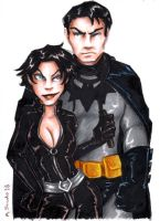 Catwoman and Batman by msciuto