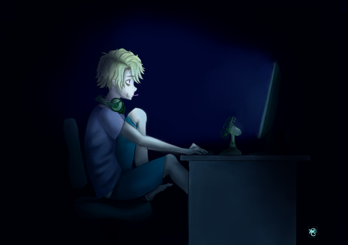 Yoosung playing LOLOL by MichaellaMEstreano