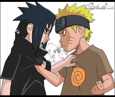 Naruto and sasuke color by dns-km
