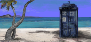 Tardis on the Beach by Grimstitch