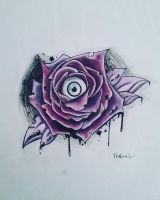 rose with eyeball - tattoo by Frankienstein