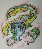 Medusa New Skool Tattoo Flash by 814CK5T4R