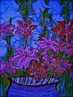 Lilies and bluebells by ameekathleen