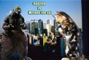 Godzilla vs Kitty by GeneticLoading