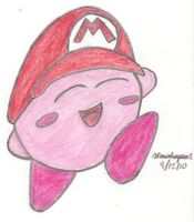 Kirby with Mario Hat 2 by MarioSimpson1
