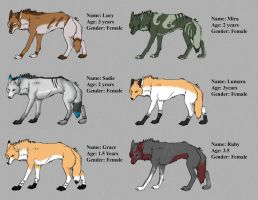 Female Wolves I've Adopted by Leland-Adopts