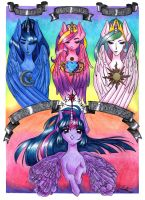 Anime MLP Fusion - Twilight and the Princesses by LinaPrime
