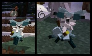 Minecraft Snow Sorceress Braixen Mob WIP 2 by FuzzyAcornIndustries