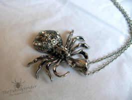 Silver Spider necklace by TheFunnySpider