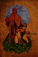 Hellboy and Wolverine, color by Guy-Bigbelly