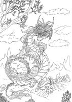 Lineart: cartoonish dragon2 by kxeron
