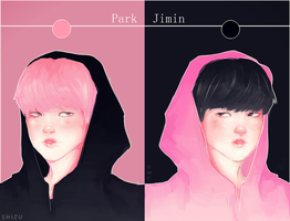 Park Jimin Black and Pink by ShizukaMapache