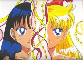 Sailor Mars and Sailor Venus by ChibiThekla