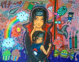Itachi with himself by Michirulicious