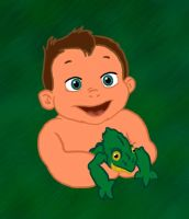 Baby Tarzan and Lizard by Janeckb