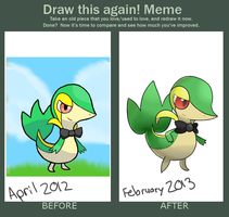 Draw this Again! Meme: Lief the Snivy by SupahSanti