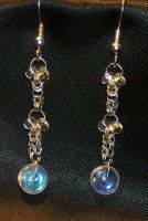 Micro Chainmaille and Glass Bead Earrings by DKayCrafts