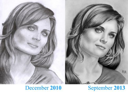 Emily Deschanel in 2010 and 2013 by Kenza-san
