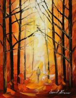 Lost in the woods by Leonid Afremov by Leonidafremov