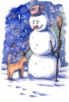 Snowman with Kitty by doma22