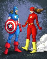 Captain America and The Flash by dirtyinks