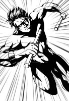 WIP:Nightwing Inked by EvilFuzz