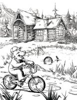 Baby Bear Rides his Bike by D-Cranford