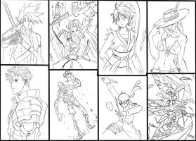 Anicon '08 Sketches line art by kabutonet