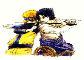 Naruto vs Sasuke by Or003