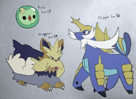Colored Stoutland Samurott and Solosis